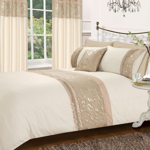 LATTE & CREAM COLOUR STYLISH MATALLIC FLORAL DIAMANTE DUVET COVER LUXURY BEAUTIFUL GLAMOUR BEDDING